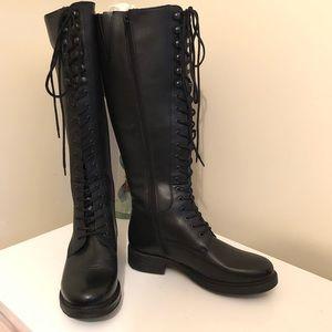 Florsheim Black Knee High Lace Up Boots Sz 6 New